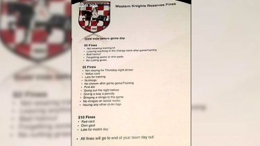 Western Knights Soccer Club president Gordana Sliskovic said the list was removed immediately.