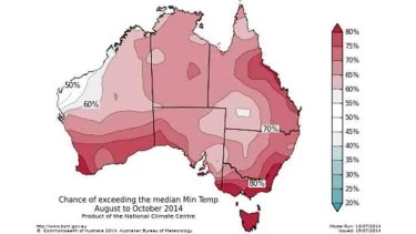 Minimum temperatures have a high chance of exceeding averages.