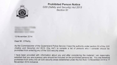 Ciaron O'Reilly has been added to the list of prohibited persons for the G20 event.