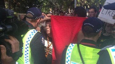 The protest turned ugly when police arrested Aboriginal man Merv Eades.
