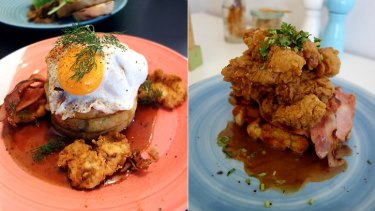 Aliment's buttermilk fried chicken crumpets ($21) and the southern fried chicken ($18) at Good Things.