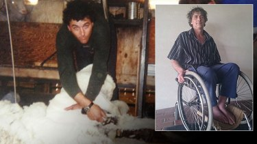 Mr Hester shearing in Wyoming, US, in his youth and inset in his wheelchair in the Wheatbelt town of Trayning now