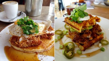 Mary Street Bakery's fried chicken ($23) and The May Street Larder's soul sandwich ($23).