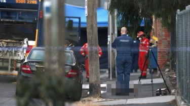 Police and SES volunteers at the scene.