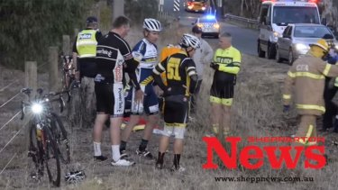A number of the cyclists involved in the crash.