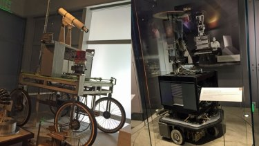 The Stanford Cart and SRI's Shakey the Robot, two of the world's first smart vehicles.