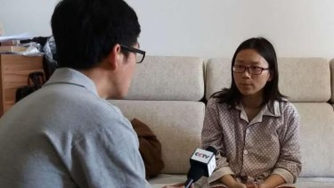 Lei Yang's wife speaks to China Central Television after the case went viral in May.