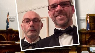 Judge Paul Higham (left) and partner Shane McGowan.