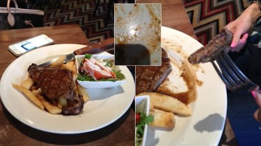 The 'paper thin, overcooked' steak and inset the hair found towards the end of the meal.