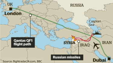 European authorities have alerted airlines that Russian warships have been firing long-range missiles under the flight path it uses between Dubai and London.
