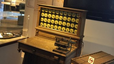 A replica of the punch card driven Hollerith Electric Tabulating System, designed for the 1890 US census, which was one of the starting points for IBM.