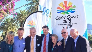 Glynis Nunn-Cearns, Dean Lukin, Kendrick Tucker, Graham Quirk, Kate Jones, Rob Borbidge and Robert de Castella launch the countdown clock for the 2018 Gold Coast Commonwealth Games earlier this year.