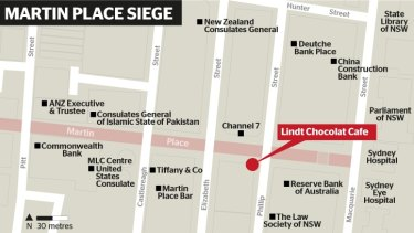 A map showing the siege location in Sydney's CBD, and some of the surrounding prominent buildings