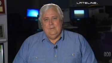"""Clive Palmer to <i>Lateline</i> host Emma Alberici: """"Goodbye, goodbye, I don't want to talk to you any more. See you later."""""""