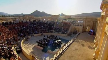 Mariinsky Symphony Orchestra from St Petersburg plays in Palmyra on Thursday.