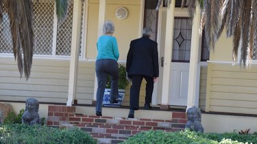 Child protection officers arrive at the South Bunbury home.