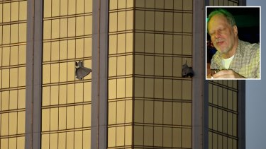 Stephen Paddock (inset) killed 58 people when he opened fire from his room in the Mandalay Bay Resort and Casino.
