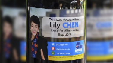 Lily Chen's self-branded wine she was giving residents in Mirrabooka, the seat she hopes to win off Labor at the state election.