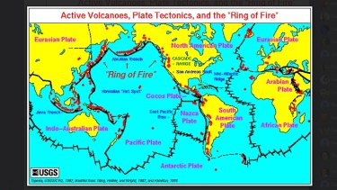 A tectonic plate map from the US Geological Society.