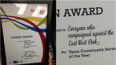 The Australia Day award for 'everyone who campaigned against the East West Link'.