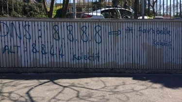 Turkey residents graffitied 8.8.8.8 on many things.