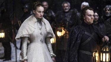 Sansa Stark (Sophie Turner) and Theon Greyjoy (Alfie Allen).