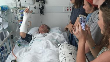 Brendan Powell, 17, is recovering in hospital after the crane he was in toppled in Newstead on Monday night.