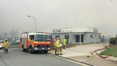Firefighters were at the Coolum Beach industrial estate to protect local businesses.