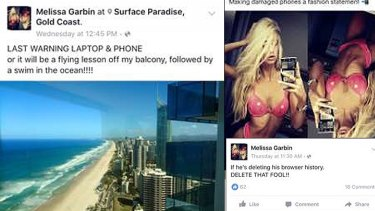 Ms Garbin hinted there was trouble in paradise on her Facebook page.