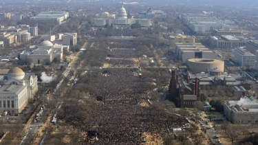 Massive crowds fill the national mall at Barack Obama's first inauguration in 2008.