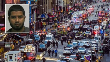 The scene of the bomb detonated by suspect Akayed Ullah (inset) at 42nd Street and 8th Avenue was closed for less than three hours.