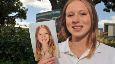 Daylesford Secondary School student Jacki Lipplegoes with her school photo that appears to have have been digitally altered in Photoshop.