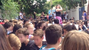 School students at Mosman High School have been evacuated to the laneway behind the school.