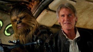 Harrison Ford and Chewbacca in <i>Star Wars: The Force Awakens</i>.