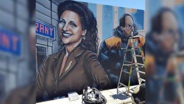 Perth mural artist and illustrator Paul Deej is painting this huge work of Seinfeld in Mount Lawley.