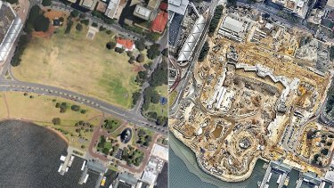 The Perth city foreshore in December 2011 (left) - and how it looked in April 2015, with construction of Elizabeth Quay well and truly underway.