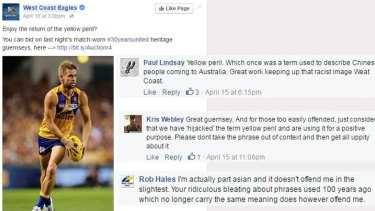Some of the feedback on the Eagles' Facebook page over its use of the term 'yellow peril'.