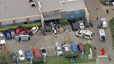 Ambulances at the scene of the crash.