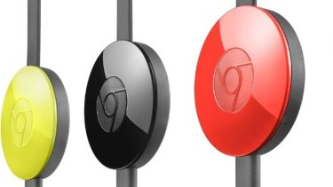 The second-gen Chromecast comes in a choice of three colours, not that you're likely to see it often.