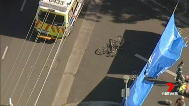 Police believe the cyclist was hit by a truck.