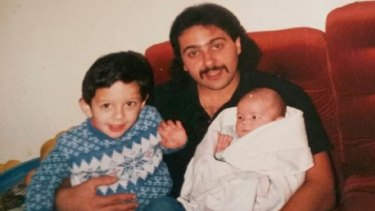 Anthony Virgona with his two sons, Michael, 3, and baby Paul in June 1987.