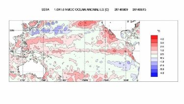 Eastern Pacific is unusually warm - an El Nino signal. But so is the Western Pacific (Week to June 16).