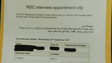An appointment slip handed to a refugee on Manus Island on Tuesday.