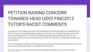 Student petition raising concerns over University of Sydney tutor Wei Wu's online remarks.