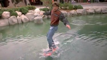 Marty McFly rides a hoverboard in Back to the Future II.