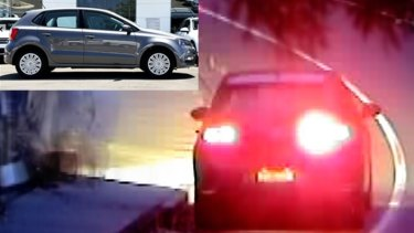 CCTV images of a car police believe may have been used to drop tacks on the Yarra Boulevard in Kew.