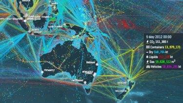 Shipping routes mapped around Australia.