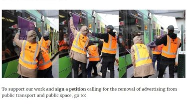 Members of protest group Tram Clean remove advertising from a tram.