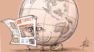 This cartoon by David Pope published on the front page of the Turkish national daily paper Cumhuriyet comments on the Turkish regime's efforts to censor and punish media coverage critical of the government.