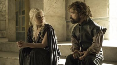 Daenerys Targaryen and Tyrion Lannnister in <i>Game of Thrones</i>.